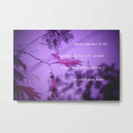 Silk Tree Leaves #11 with Poem Metal Print