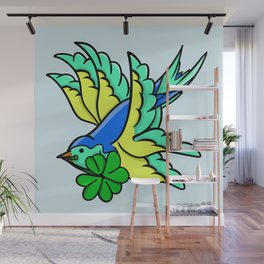 Swallow With Lucky Four Leaf Clover Wall Mural