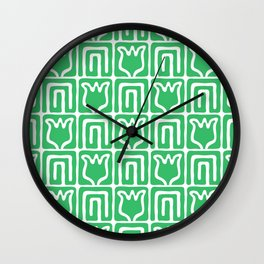 Mid Century Flower Garden Pattern 381 Green Wall Clock