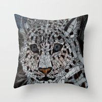snow leopard Throw Pillows featuring Snow Leopard by ira gora