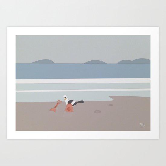 Bird and Sandcastle Beach Wall Art, Beach Art Nursery Decor, Nursery Wall Art for Boys Room Art Print
