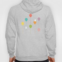 Fluffy bunnies and the rainbow balloons pattern Hoody