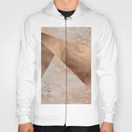 Copper Foil and Blush Rose Gold Marble Triangles Hoody