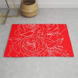 Feminine and Romantic Rose Pattern Line Work Illustration on Red Rug