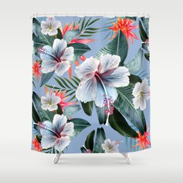 Hawaii, tropical hibiscus vintage style blue dream palm leaves Shower Curtain