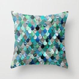 Mermaid Sea, Teal, Aqua, Silver, Grey Throw Pillow