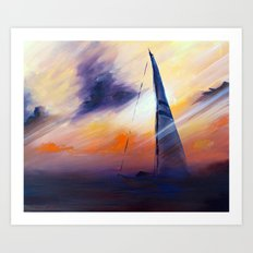 Untitled Boat on the Sea  Art Print