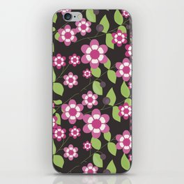 Graphic flowers: Britannia Flowers (black, pink and green) iPhone Skin