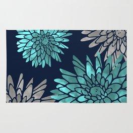Floral Chrysanthemum Modern Navy Aqua Rug