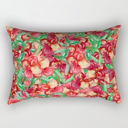 Little Red Flower Garden Rectangular Pillow