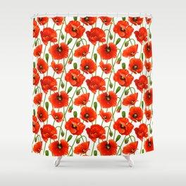 Beautiful Red Poppy Flowers Shower Curtain
