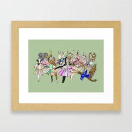 Animal Ballet Hipsters - Green Framed Art Print