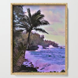 Hawaiian Shore at Sunset by Reay of Light Serving Tray