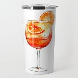 Cocktails. Aperol Spritz. Watercolor Painting. Travel Mug