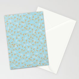 Gold & pearl watercolor leaves on light blu seamless pattern Stationery Cards