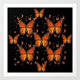 ORANGE MONARCH BUTTERFLIES BLACK MONTAGE Art Print