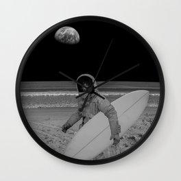 Moon surfer Wall Clock