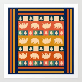 Multicolored bear pattern Art Print