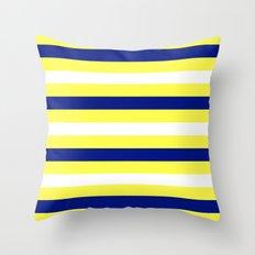 Nautical Stripe in Yellow, White and Navy Throw Pillow