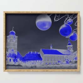 Blue Christmas night Serving Tray