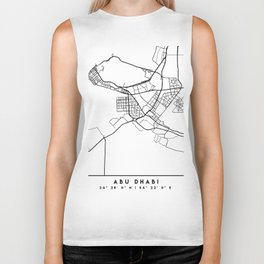 ABU DHABI UAE BLACK CITY STREET MAP ART Biker Tank