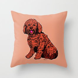 Labradoodle Illustration Throw Pillow