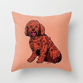 Labradoodle Illustration Throw Pillow