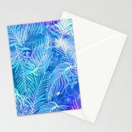Blue frost seamless pattern. Palm leaves. Hand painted. Stationery Cards