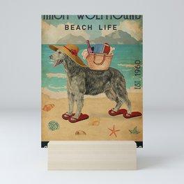 Beach Life Sandy Toes Irish Wolfhound dog gift Mini Art Print