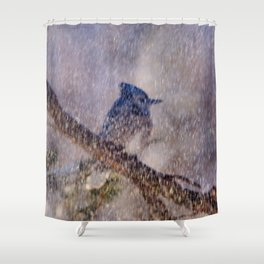 Blue Blizzard (American Blue Jay) Shower Curtain