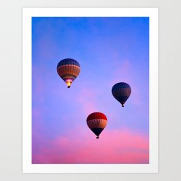 Cotton Candy Skies - Hot Air Balloons In Flight Art Print