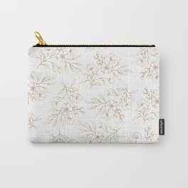 Shabby vintage pastel brown white elegant floral Carry-All Pouch