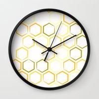 honeycomb Wall Clocks featuring Honeycomb by Thomas Knapp