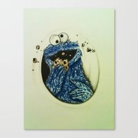 cookie monster Canvas Prints featuring Cookie Monster  by Jay Dee Art