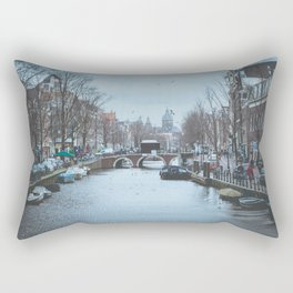 Birds flying over canal Rectangular Pillow