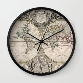 Vintage Map of The World (1721) Wall Clock