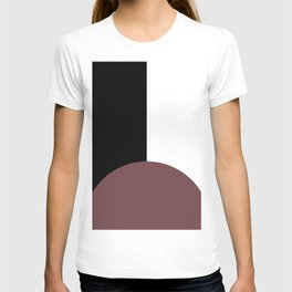 Basic Bold Red Pear Circle and Black and White Rectangles T-shirt