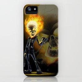 Flaming Skullface v2 iPhone Case