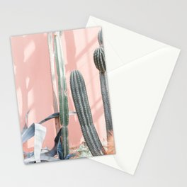 """Travel photography print """"pink wall and cactus""""  botanical photo Stationery Cards"""
