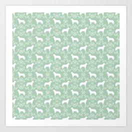 Australian Cattle Dog minimal floral silhouette pattern mint and white dog art Art Print