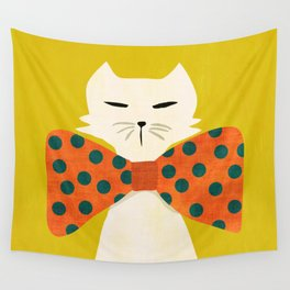 Cat with incredebly oversized humongous bowtie Wall Tapestry