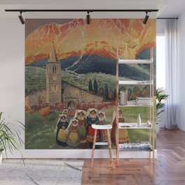 Abruzzo Italian travel back from church Wall Mural