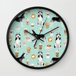 Husky coffee siberian husky owners gifts for dog person dog breed portraits by pet friendly Wall Clock