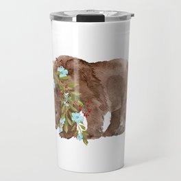 Bear with flower boa Travel Mug