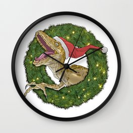Velociraptor and Christmas Wreathe Wall Clock