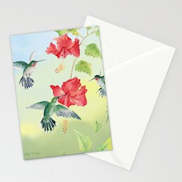 Colorful Hummingbirds and Hibiscus  Stationery Cards