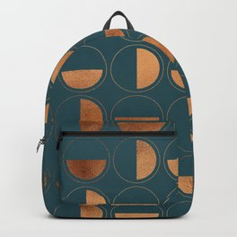 Copper Circles Art Deco on Emerald Backpack