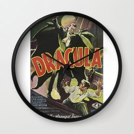Dracula, vintage horror movie poster Wall Clock