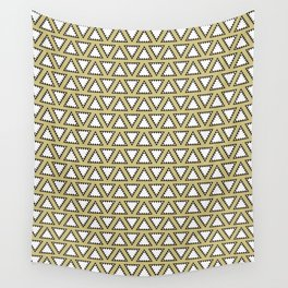 Gold, white and black geometric triangle pattern. Manchester Architecture Collection Wall Tapestry