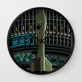 spy agent on missile launcher silo Wall Clock